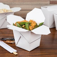 Fold-Pak 26WHWHITEM 26 oz. White Chinese / Asian Paper Take-Out Container with Wire Handle - 100/Pack