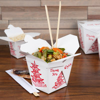 Fold-Pak 26WHPAGODM 26 oz. Pagoda Chinese / Asian Paper Take-Out Container with Wire Handle - 100/Pack