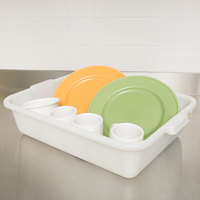 Choice 20 inch x 15 inch x 5 inch White Polyethylene Plastic Bus Tub / Food Storage Box