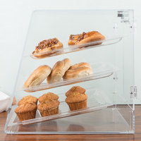 Carlisle SPD30007 18 inch x 14 inch x 17 1/2 inch Assembled Three-Tray Acrylic Bakery Display Case with Back Door
