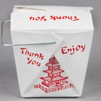 Fold-Pak 32WHPAGODM 32 oz. Pagoda Chinese / Asian Paper Take-Out Container with Wire Handle - 100/Pack