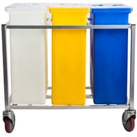 Winholt 148PIB Triple Ingredient Bin with Aluminum Frame and Casters