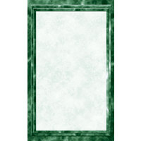 8 1/2 inch x 11 inch Green Menu Paper - Marble Border - 100/Pack