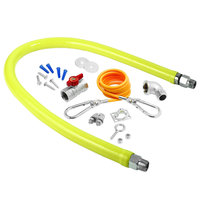 T&S HG-2C-24K Safe-T-Link 24 inch Coated Gas Connector Hose Kit with 1/2 inch NPT Male Ends, 90 Degree Elbow, Restraining Cable, Street Elbow, and Ball Valve