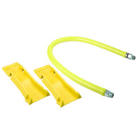 T&S HG-2C-48-PS Safe-T-Link 48 inch Coated Gas Connector Hose with 1/2 inch NPT Male Connections, 90 Degree Elbows, and POSI-SET Wheel Placement System