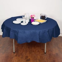 Creative Converting 923278 82 inch Navy Blue OctyRound Tissue / Poly Table Cover - 12/Case