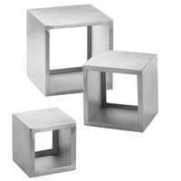 Tablecraft RS3 Barclay 3 Piece Square Stainless Steel Riser Set