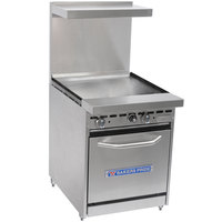 Bakers Pride Restaurant Series 24-BP-0B-G24-S20 Liquid Propane Range with Space Saver 20 inch Oven and 24 inch Griddle