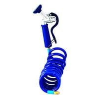 T&S PG-35AV-CH 5.05 GPM Angled Pet Grooming Spray Valve with 9' Coiled Polyurethane Hose and 1/4 inch NPT Male Connection