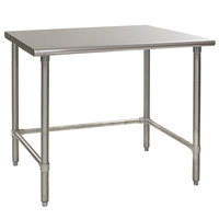 Eagle Group T3648GTB 36 inch x 48 inch Open Base Stainless Steel Commercial Work Table