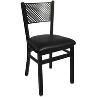 BFM Seating 2161CBLV-SB Polk Sand Black Steel Side Chair with 2 inch Black Vinyl Seat