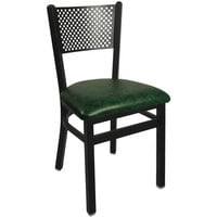 BFM Seating 2161CGNV-SB Polk Sand Black Steel Side Chair with 2 inch Green Vinyl Seat