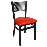 BFM Seating 2161CRDV-SB Polk Sand Black Steel Side Chair with 2 inch Red Vinyl Seat