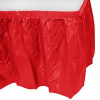 Creative Converting 10052 14' x 29 inch Classic Red Plastic Table Skirt