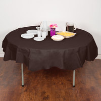 Creative Converting 923038 82 inch Chocolate Brown OctyRound Tissue / Poly Table Cover - 12/Case