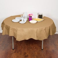 Creative Converting 923276 82 inch Glittering Gold OctyRound Tissue / Poly Table Cover - 12/Case