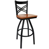 BFM Seating 2130SCHW-SB Akrin Metal Barstool with Cherry Wood Swivel Seat