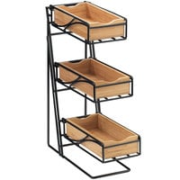 Cal-Mil 1235-13-60 Black 3-Tier Metal Flatware / Condiment Display with Bamboo Bins