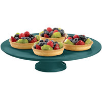 Tablecraft CW17005HGN 14 inch x 4 inch Hunter Green Cast Aluminum Round Platter with Cake Stand