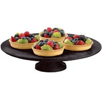 Tablecraft CW17005MIS 14 inch x 4 inch Midnight Speckle Cast Aluminum Round Platter with Cake Stand