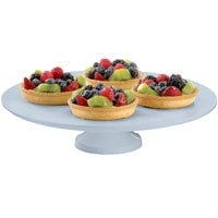 Tablecraft CW17005GY 14 inch x 4 inch Gray Cast Aluminum Round Platter with Cake Stand