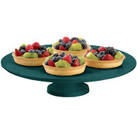 Tablecraft CW17005HGNS 14 inch x 4 inch Hunter Green with White Speckle Cast Aluminum Round Platter with Cake Stand