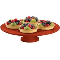 Tablecraft CW17005CP 14 inch x 4 inch Copper Cast Aluminum Round Platter with Cake Stand