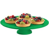 Tablecraft CW17005GN 14 inch x 4 inch Green Cast Aluminum Round Platter with Cake Stand