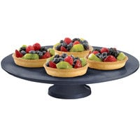 Tablecraft CW17005MBS 14 inch x 4 inch Midnight with Blue Speckle Cast Aluminum Round Platter with Cake Stand