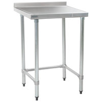 Eagle Group T2424STEM-BS 24 inch x 24 inch Open Base Stainless Steel Commercial Work Table with 4 1/2 inch Backsplash