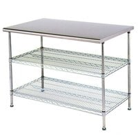Eagle Group T3048EW 30 inch x 48 inch Stainless Steel Table with 2 Chrome Wire Undershelves
