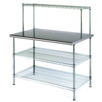 Eagle Group T2436EBW-1 24 inch x 36 inch Stainless Steel Table with 2 Chrome Wire Undershelves and 1 Chrome Wire Overshelf
