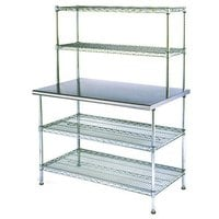 Eagle Group T2460EBW-2 24 inch x 60 inch Stainless Steel Table with 2 Chrome Wire Undershelves and 2 Chrome Wire Overshelves