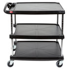Metro myCart MY2030-34BU Black Utility Cart with Three Shelves and Chrome Posts - 24