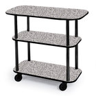 Geneva 36100 Rectangular 3 Shelf Laminate Tableside Service Cart with Gray Sand Finish - 16