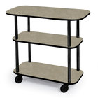 Geneva 36100 Rectangular 3 Shelf Laminate Tableside Service Cart with Beige Suede Finish - 16