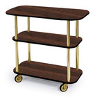 Geneva 36100 Rectangular 3 Shelf Laminate Tableside Service Cart with Mahogany Finish - 16