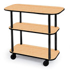 Geneva 36100 Rectangular 3 Shelf Laminate Tableside Service Cart with Maple Finish - 16