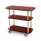 Geneva 36100 Rectangular 3 Shelf Laminate Tableside Service Cart with Red Maple Finish - 16