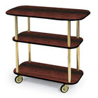Geneva 36104 Rectangular 3 Shelf Laminate Tableside Service Cart with Handle Cutouts and Red Maple Finish - 16
