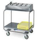 Lakeside 213 Stainless Steel Flatware / Tray Cart with 10 Hole Flatware Bin - 34 3/4