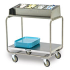 Lakeside 216 Stainless Steel Condiment / Tray Cart with Five 1/4 Size Pans - 34 3/4