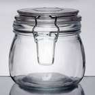 American Metalcraft HMJ4 16 oz. Glass Hinged Apothecary Jar - 12/Case