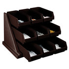 Cambro 9RS9131 Dark Brown Versa Self Serve Condiment Bin Stand Set with 3-Tier Stand and 12