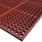 Cactus Mat 3525-R4 VIP TuffDek 3' x 2' Red Heavy-Duty Grease-Resistant Rubber Anti-Fatigue Floor Mat - 7/8