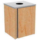 Lakeside 3410 Stainless Steel Refuse Station with Top Access and Hard Rock Maple Laminate Finish - 26 1/2