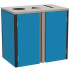Lakeside 3415 Stainless Steel Refuse / Recycle / Paper Station with Top Access and Royal Blue Laminate Finish - 37 1/2