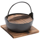 Cast Iron Japanese Noodle Bowl with Wooden Lid and Base - 32 oz.