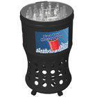 Commercial Zone 73020199 60 Qt. Round Black Plastic Mobile Ice Barrel / Ice Merchandiser with Casters