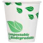 EcoChoice 10 oz. White Compostable and Biodegradable Paper Hot Cup with Leaf Design - 50/Pack